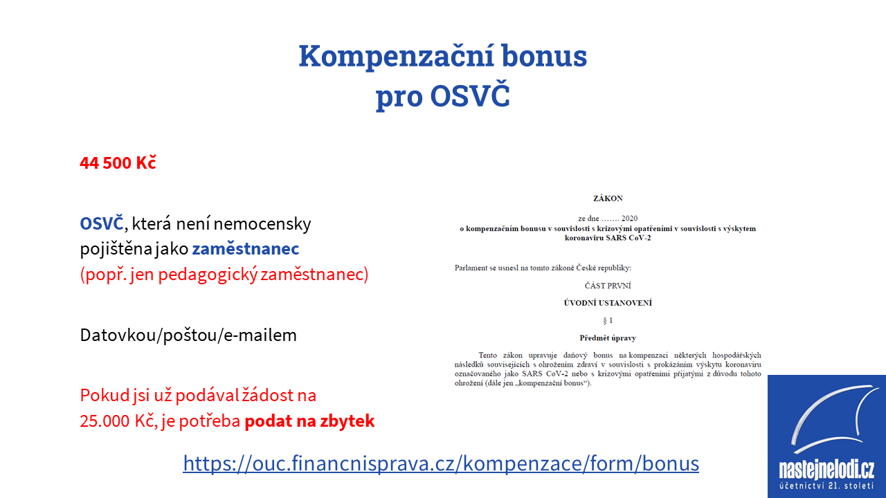 Kompenzační bonus pro OSVČ