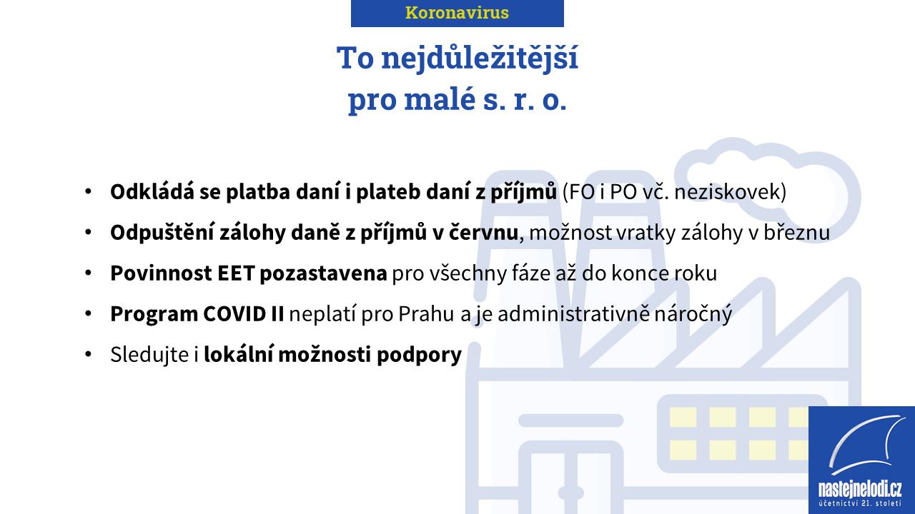 Koronavirus: To nejdůležitější pro malá s. r. o.